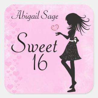 名前入りな女の子およびハートの菓子16のステッカー スクエアシール