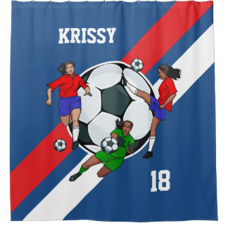 名前入りな女の子のサッカーデザイナーシャワー・カーテン シャワーカーテン
