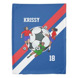 名前入りな女の子のサッカーデザイナー 掛け布団カバー