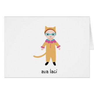 名前入りな女の子のノートカードCatgirlか猫の衣裳 カード