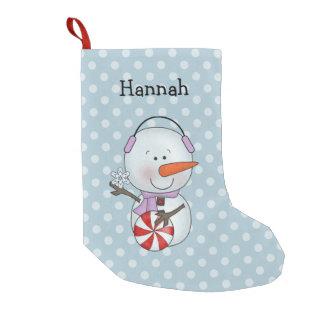 名前入りな女の子の雪だるま スモールクリスマスストッキング