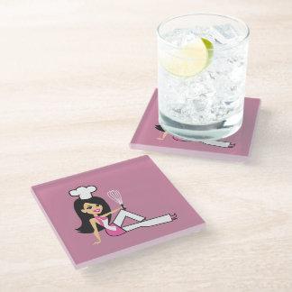 名前入りな女の子らしい女の子ガラスのコースター ガラスコースター