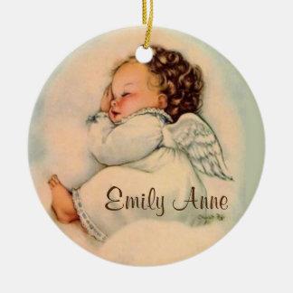 名前入りな女の赤ちゃんの天使の睡眠 セラミックオーナメント