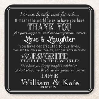名前入りな好意の結婚式のコースターは感謝していしています スクエアペーパーコースター