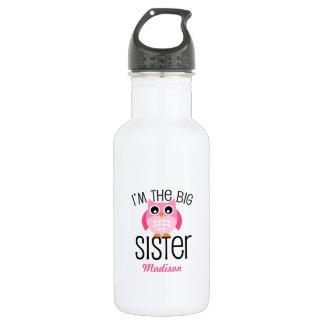 名前入りな姉のピンクのフクロウ ウォーターボトル