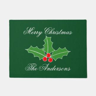 名前入りな姓のクリスマスの玄関マット ドアマット