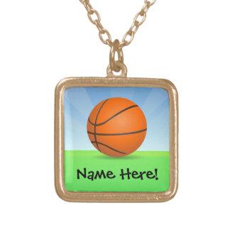 名前入りな子供のスポーツのバスケットボールの晴れた日 ゴールドプレートネックレス