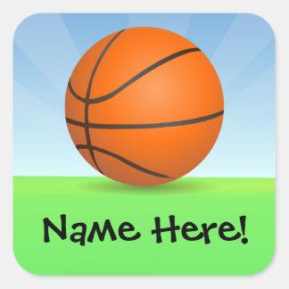 名前入りな子供のスポーツのバスケットボールの晴れた日 スクエアシール