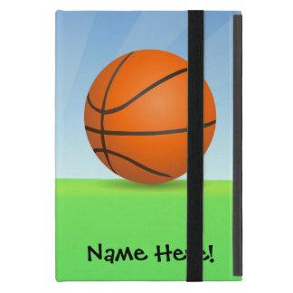 名前入りな子供のスポーツのバスケットボールの晴れた日 iPad MINI ケース