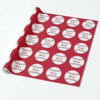 名前入りな子供のスポーツの野球の包装紙 ラッピングペーパー