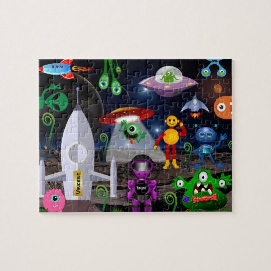 名前入りな子供の宇宙飛行士及びロケット ジグゾーパズル
