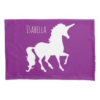 名前入りな子供の紫色のピンクのユニコーンのシルエット 枕カバー