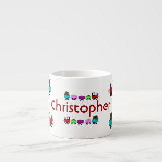 名前入りな子供のChoo Chooの列車の子供のマグ エスプレッソカップ
