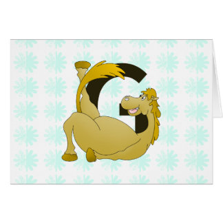 名前入りな子馬のモノグラムの手紙G カード