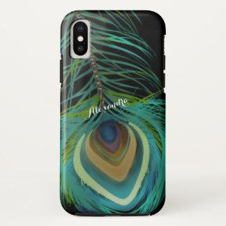 名前入りな孔雀はiPhoneの箱に羽をつけます iPhone X ケース