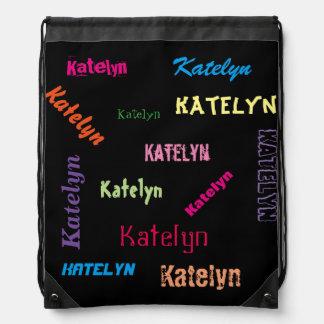 名前入りな学校か水泳または体育館またはダンスのバッグ名前 ナップサック