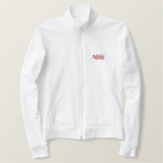 名前入りな学校の精神トラックモノグラムのジャケット 刺繍入りジャケット