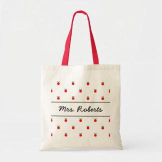 名前入りな学校教師のトートバック|の赤のりんご トートバッグ