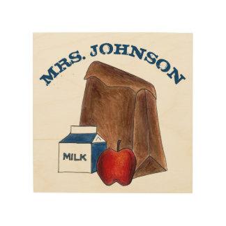 名前入りな学校給食の先生の教育のギフト ウッドウォールアート
