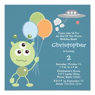 名前入りな宇宙人の誕生日の招待状 カード