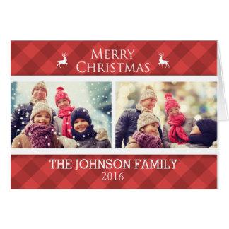 名前入りな家族のクリスマスの写真カード グリーティングカード
