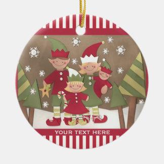 名前入りな家族のクリスマスの挨拶 セラミックオーナメント