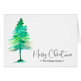名前入りな家族のクリスマスの水彩画Pinetree カード