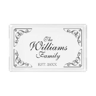 名前入りな家族の名字の虚栄心のサービングの皿 アクリルトレー