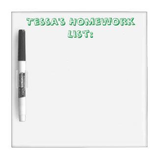 名前入りな宿題のリストのホワイトボード ホワイトボード