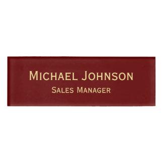 名前入りな専門のエレガントで模造のな金ゴールドのあずき色 名札