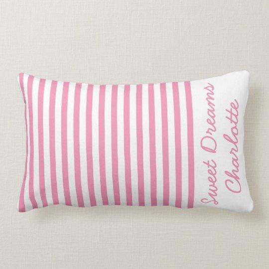 名前入りな幸せなピンクおよび白のストライプ ランバークッション
