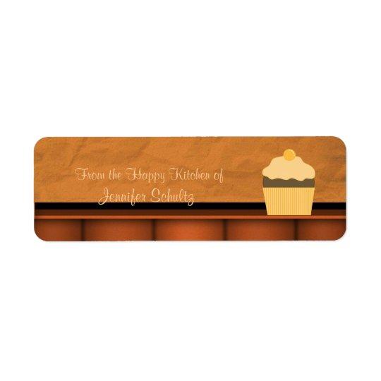 名前入りな幸せな台所カップケーキのカスタム 返信用宛名ラベル
