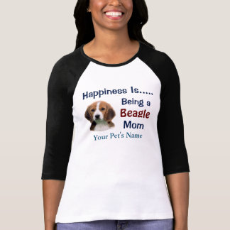 名前入りな幸福は犬のお母さんの女性のTシャツです Tシャツ
