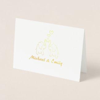 名前入りな愛のかわいくエレガントな象 箔カード