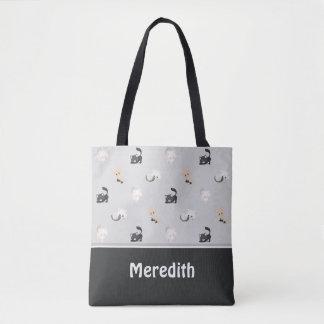 名前入りな愛らしい猫パターン|黒い灰色| トートバッグ