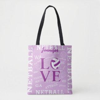 名前入りな愛ネットボールのデザイン トートバッグ