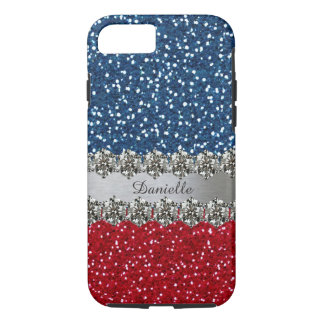 名前入りな愛国心が強く模造のできらきら光るな赤白青 iPhone 8/7ケース