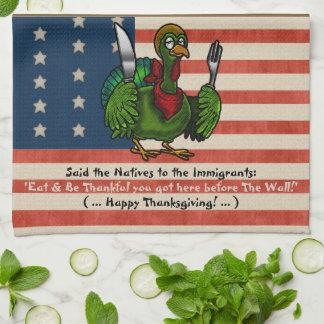 名前入りな政治感謝祭の皮肉- キッチンタオル