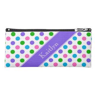 名前入りな数々のな色の水玉模様|の紫色| ペンシルケース