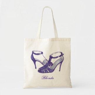 名前入りな新婦付添人のトートバック、紫色のかかと トートバッグ