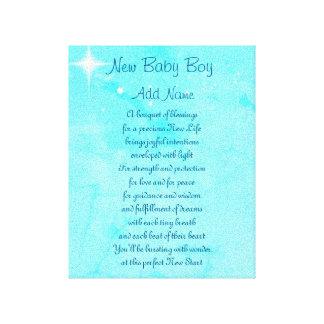 名前入りな新生児の男の子 キャンバスプリント