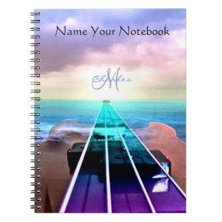 名前入りな日没のベースギター音楽ノート ノートブック