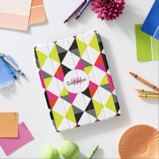 名前入りな明るくモダンで幾何学的なパターン iPadスマートカバー