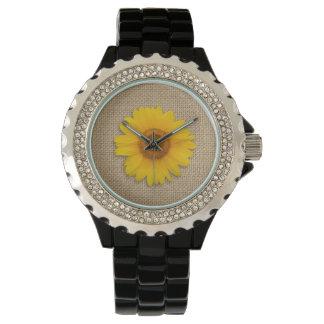 名前入りな明るく黄色く素朴なヒマワリのバーラップ 腕時計