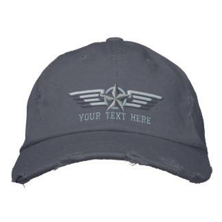 名前入りな星のバッジのパイロットの翼 刺繍入りキャップ