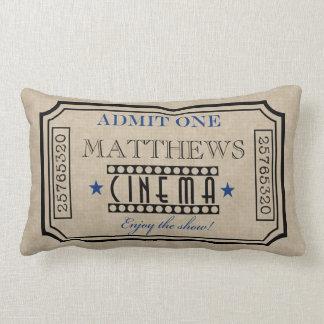 名前入りな映画館のチケットの枕青 ランバークッション
