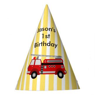 名前入りな普通消防車の誕生会 パーティーハット