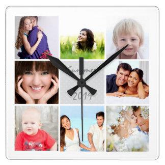 名前入りな柱時計の家族またはカップルの写真 スクエア壁時計