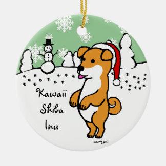 名前入りな柴犬の子犬のクリスマス セラミックオーナメント