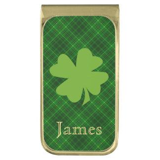 名前入りな格子縞の緑のシャムロック ゴールド マネークリップ